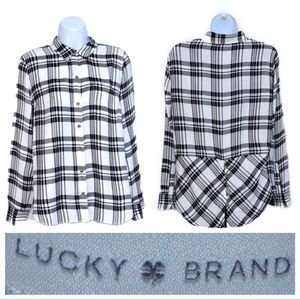 Lucky Brand Bungalow B&W Plaid Shirt Size Small